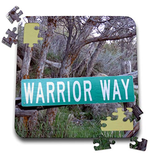 3dRose Jos Fauxtographee- Warrior Way - A Sign That says Warrior Way in Green Near a Forest - 10x10 Inch Puzzle (pzl_319014_2)