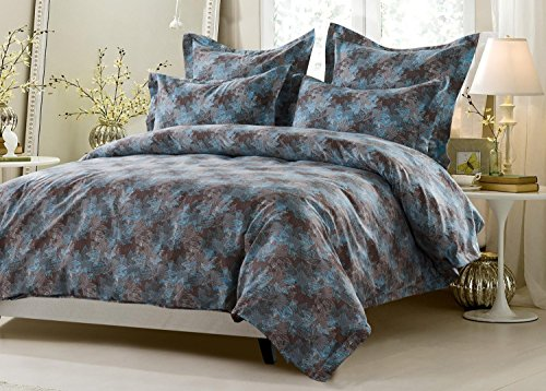 5pc Floral Blue Brown Duvet Cover Set Style # 1022 - Full/Queen - Cherry Hill Collection