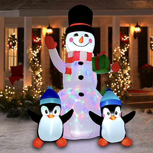6FT Christmas Inflatables Outdoor Decorations Inflatable Snowman Penguins with Gift, Christmas Blow Up Yard Decorations with Rotating LED Lights for Indoor Outdoor Garden Lawn Holiday Décor