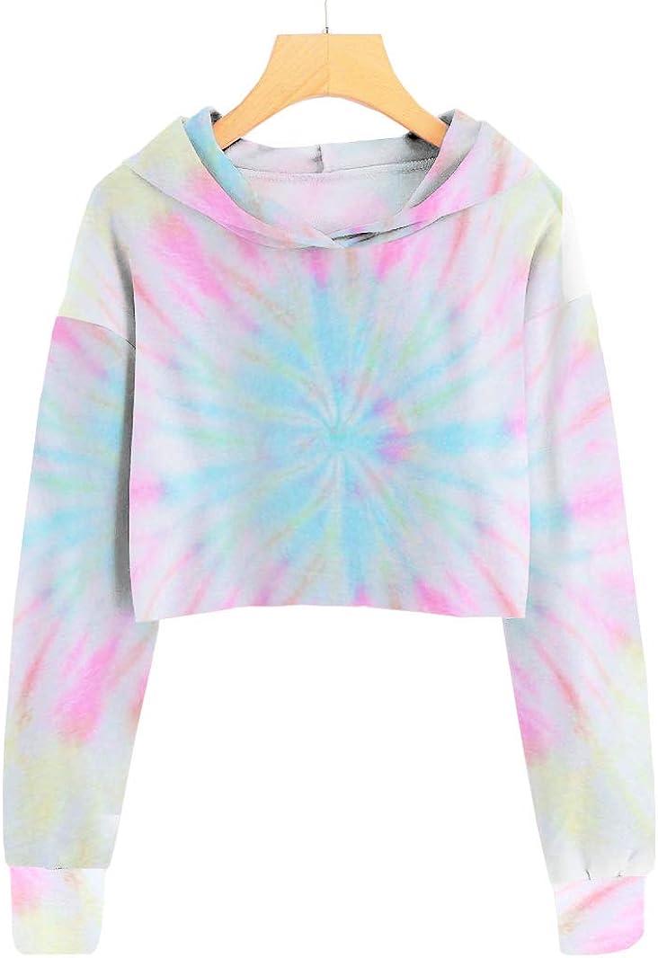 Imily Bela Girls Tie-dye Hooded Crop Tops Long Sleeve Cute Pullover Sweatshirt Hoodies