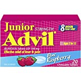 Junior Strength Advil (20 Count, Blue Raspberry Flavour) Ibuprofen Chewable Tablets Fever Relief