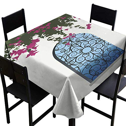 Warm Family Waterproof Tablecloth Bougainvillea Flowers Sea View Through a Window with Decorated Grille Great for Buffet Table W36 x L36