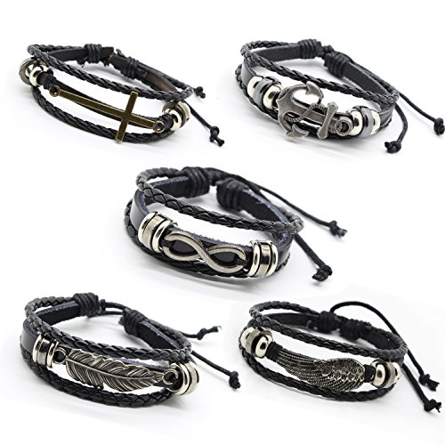 Celeisure 5PCS Cross Feather Wing Infinity Anchor Bracelet Leather Braided Rope Bangle Drawstring 7-9.5