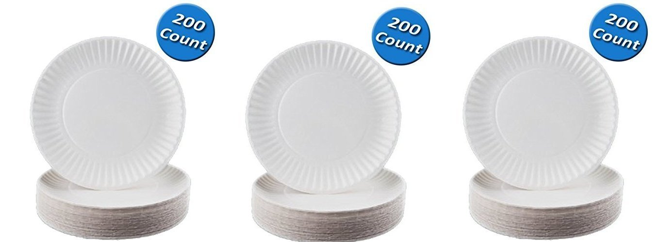 Nicole Home Collection 100 Count Everyday Dinnerware Paper Plate, 6-inch, White (200 Count), 3-Pack