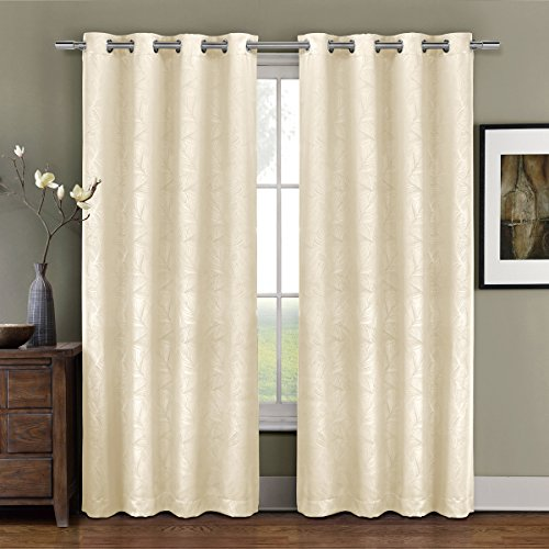 Pair of Two Top Grommet Blackout Weave Embossed Curtain Panels, Triple-Pass Foam Back Layer, Elegant and Contemporary Prairie Blackout Panels, Ivory, 96″ Panels
