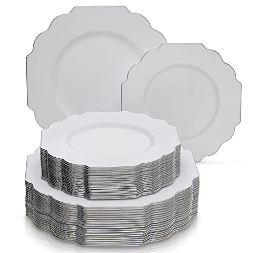 PARTY DISPOSABLE 40 PC DINNERWARE SET | 20 Dinner Plates and 20 Salad or Dessert Plates | Heavyweight Plastic Dishes | Elegant Fine China Look | for Upscale ...  sc 1 st  Plate Dish. & Baroque Plastic Plates. PARTY DISPOSABLE 40 PC DINNERWARE SET | 20 ...