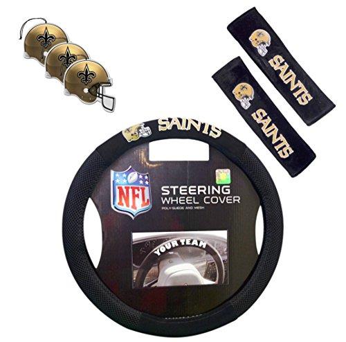 Official National Football League Fan Shop Authentic Auto Accessories Bundle (New Orleans Saints)