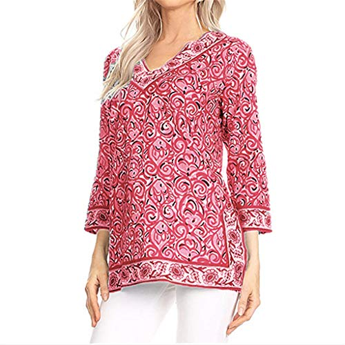 Plus Size Womens Casual V-Neck Print 3/4 Sleeve Ladies Tops T-Shirt Blouse Red