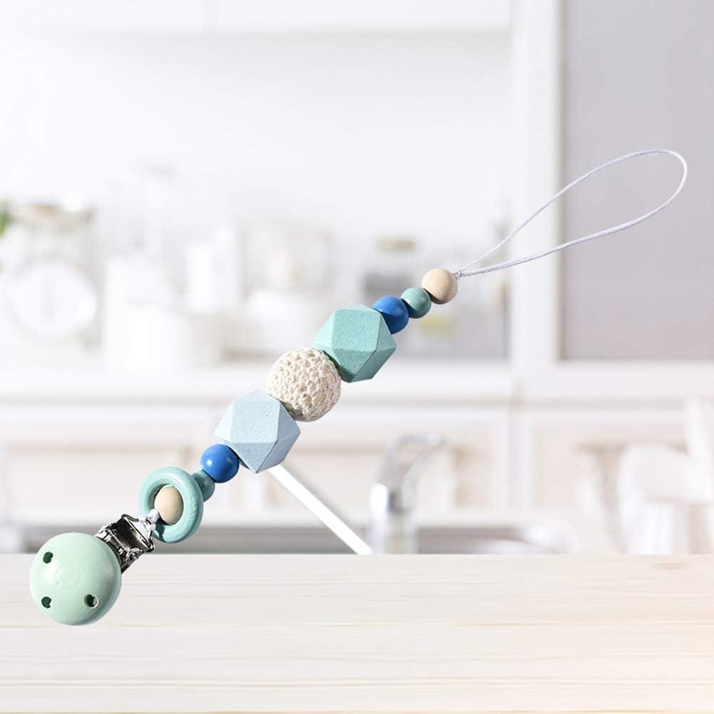 SUPVOX B/éb/é Attache T/étine Sucette Pince Clip Dentition Clips Sucettes Perles Silicone Bleu
