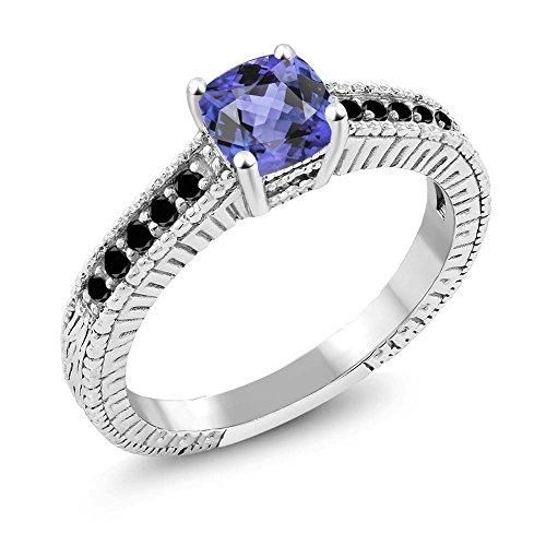 Gem Stone King Sterling Silver Black Diamond and Tanzanite Women's Wedding Engagement Ring 0.76 cttw 5mm Cushion Cut (Size 7)