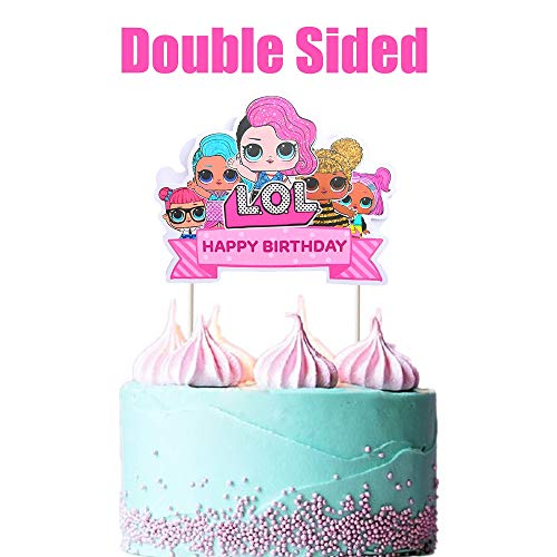 LOL Cake Topper, Happy Birthday Cake Topper, Pink Cake Decorations for Bday Theme Party