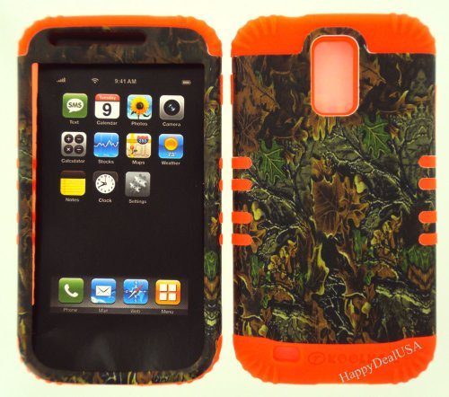 2 in 1 Hybrid Case Protector for T-mobile Samsung Galaxy S2 S 2 ll T989 Phone Hard Cover Faceplate Snap On Orange Silicone +Mixed Leaves Camo