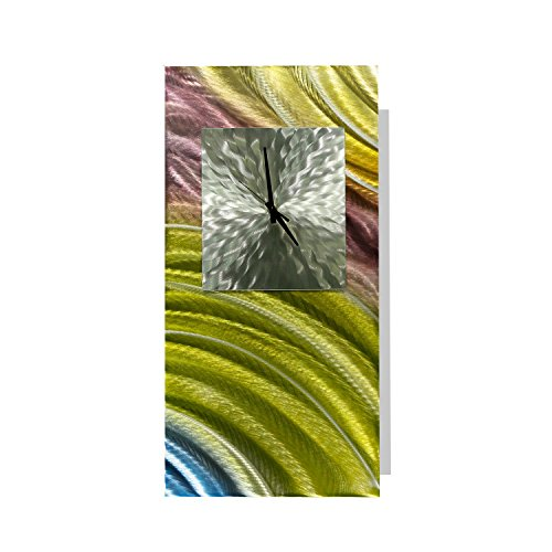 Green, Pink, Blue, & Silver Abstract Metal Wall Clock