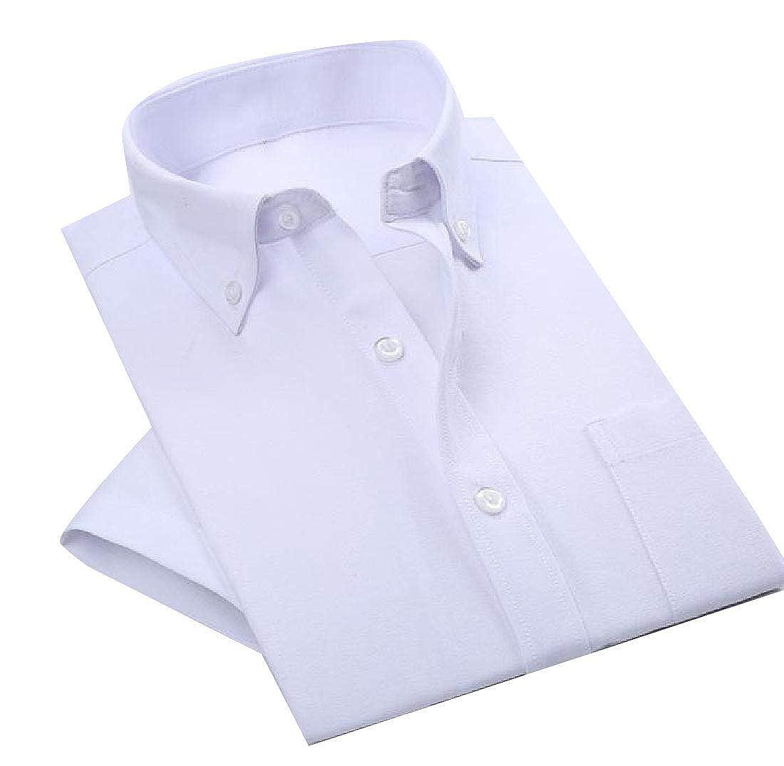 Losait Mens Slim Business Cotton Button Down Short Sleeve Formal Shirt