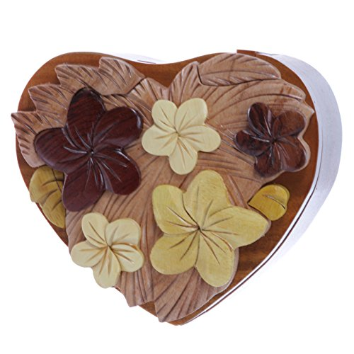 Wooden Heart Box - Handcrafted Wooden Flowers Heart Shape Oval Secret Jewelry Puzzle Box - Flowers & Heart