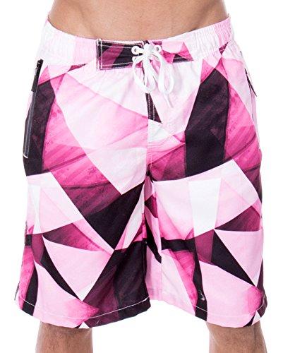 ZENCO Men's Jayden Triangle Geo Print Elastic Waistband Swim Trunks, Burgundy, S (Swimwear Zipper Triangle)
