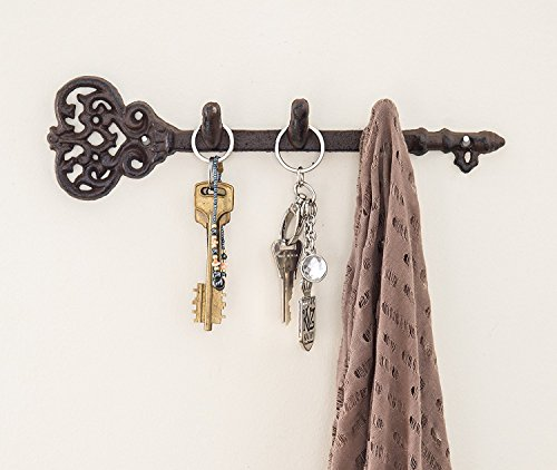 """Decorative Wall Mounted Key Holder - Vintage Key With 3 Hooks - Wall Mounted - Rustic Cast Iron - 11.6 x 3""""- With Screws And Anchors By Comfify"""