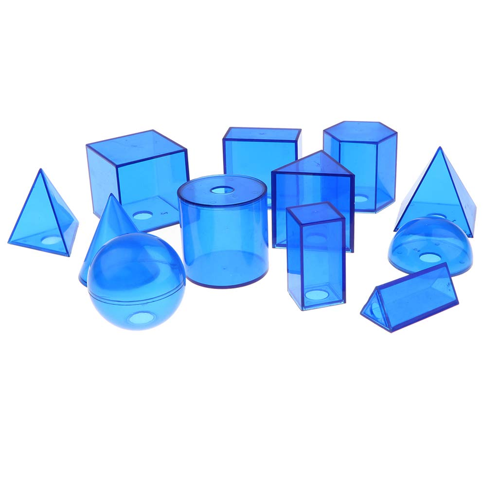 Plastic Geometric Solid Blocks, 3D Shapes (Set of 12), Mini 3D Shapes Preschool Learning Toys by CUTICATE