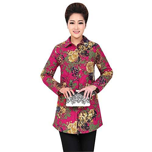 KINDOYO Womens Printing Long Coat - Elegant Long Sleeve Loose Floral Jacket Outwear Thicken Shirt Coat Rose Red