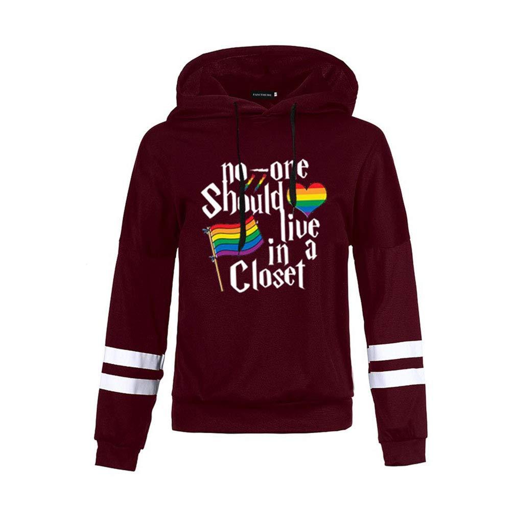 Yying Donna Felpa con Cappuccio Sciolto Casual Sweatshirt LGBT Arcobaleno/Bandiera Gay Pride Hoodies Autunno Inverno Manica Lunga Pullover