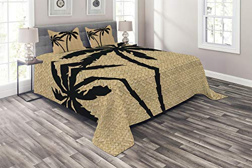 Ambesonne Tropical Coverlet Set Queen Size, Composition with Palm Tree Silhouettes with Zigzag Style Background, 3 Piece Decorative Quilted Bedspread with 2 Pillow Shams, Brown Black