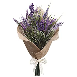 13 Inch Artificial Lavender Bouquet Arrangement In Burlap Wrap With Accent Bow 78