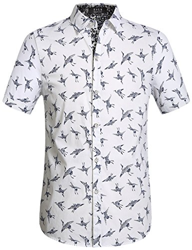 SSLR Men's Printed Cotton Casual Short Sleeve Button Down Shirts (Large, White)