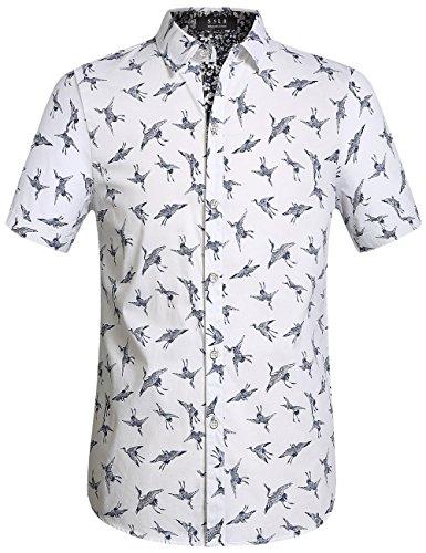 SSLR Mens Cotton Crane Button Down Short Sleeve Casual Shirt