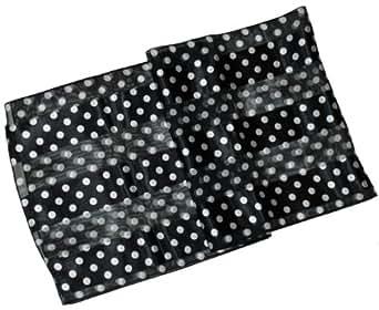 Sheer-Delights Polka Dot Satin Stripe Oblong Scarf / Sash Belt / Headband
