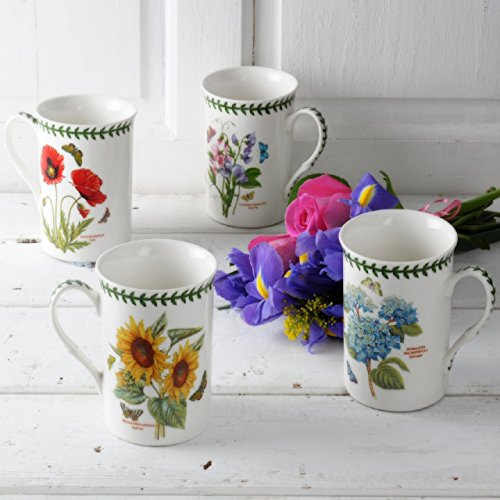 Botanic Garden Set of 4 Mugs, Porcelain, Multi-Colour, 8.5 x 12 x 10.5 cm ()