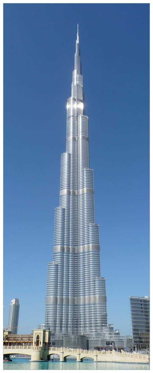 Wallario Glasbild Wolkenkratzer in Dubai - 50 x 125 cm in Premium-Qualität  Brillante Farben, freischwebende Optik