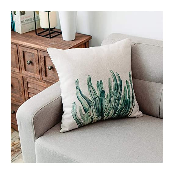 YeeJu Set of 4 Green Plant Throw Pillow Covers Decorative Cotton Linen Square Outdoor Cushion Cover Sofa Home Pillow Covers 18x18 Inch - ELEVATE YOUR ROOM DECOR! Let these attractive green plants throw pillow covers add a freshness, dynamic, fashionable and cozy feel to your life atmosphere. Definitely these amazing 18X18 Inches throw pillow covers will be your Home Highlights! YOUR COMFORT IS OUR TOP NOTCH! With fantastic moisture absorption and wet dissipation, our 100% natural cotton linen is the perfect fabric for cushion cover or sofa throw pillow cases. As the premium comfort eco-friendly material, it offering the most restful relaxation, breathable cool touch in summer and warm touch in winter. DETAILS HIGHLIGHT THE QUALITY! Soft, breathable, textured made with color matching, invisible zipper, allows easy insertion and removal of pillow inserts. All fabric edges are sewn with overlock stitch to prevent fray and ensure the cushion case holds shape over time.Printed with healthy and environment friendly water-based ink, unfading, no stimulation to skin. - patio, outdoor-throw-pillows, outdoor-decor - 51wq3uCkUjL. SS570  -