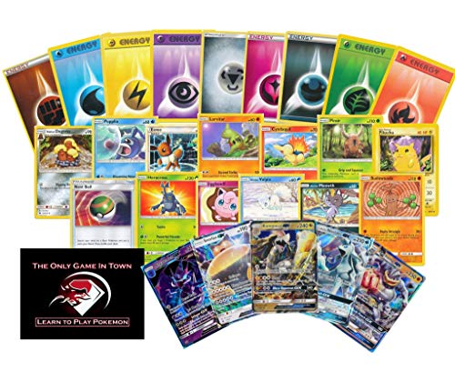 200 Pokemon Card Lot including 100 Pokemon Cards, 100 Energy Cards, 2 GX Ultra Rares! Pokemon Beginner's Starter Set with Learn to Play Pokemon Instructions