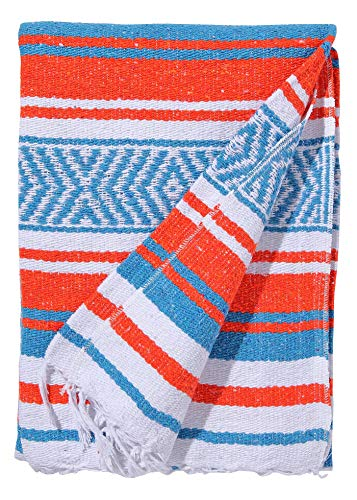 El Paso Designs Mexican Yoga Blanket Colorful 51in x 74in Studio Mexican Falsa Blanket Ideal for Yoga, Camping, Picnic, Beach Blanket, Bedding, Home Decor Soft Woven