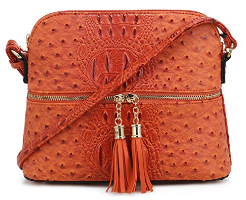 (SG SUGU Crocodile Pattern Lightweight Medium Dome Crossbody Bag with Tassel | Orange)