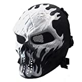 8. Anyoupin Airsoft Mask Full Face Masks Skull Skeleton with Metal Mesh Eye Protection Army Fans Supplies M06 Tactical Mask for Halloween BB Paintball Gun Patriots CS Game Cosplay Party
