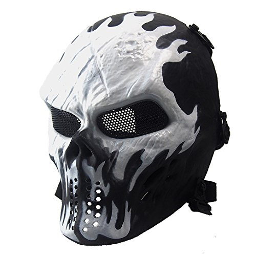 (Annay Skull Skeleton Full Face Airsoft Mask with Metal Mesh Eye Protection Army Tactical Mask for Halloween Airsoft BB Paintball Gun CS Game Cosplay and Masquerade Party)