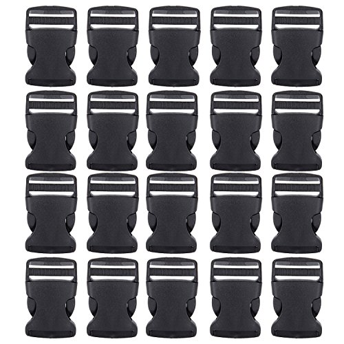 Outus Black Plastic Side Release Buckles Quick Snap Buckles 2.3 by 1.4 inches for Crafts and DIY, 20 Pack - Snap Buckle
