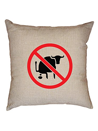 Hollywood Thread No Bullshit - Red Circle Sign Cross Through - Funny Decorative Linen Throw Cushion Pillow Case with Insert (Hollywood Sofa)