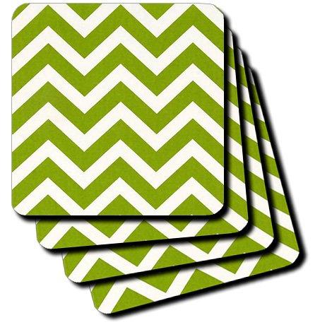 3dRose CST/_119432/_3 Large Lime Green Chevron Zig Zag Stripes Ceramic Tile Coasters Set of 4