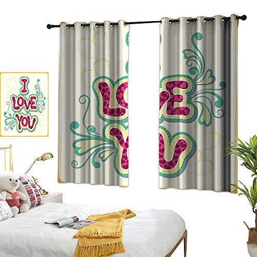 (BlountDecor Bedroom Windproof Curtain I Love You Classic Style Pastel Valentines Birthday Forever Partners Design Environmental Protection 72