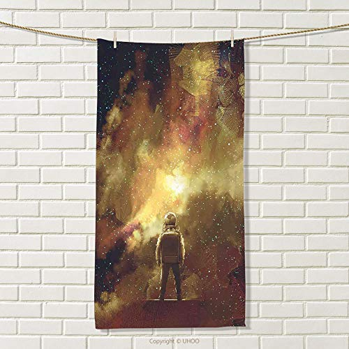 smallbeefly Fantasy Sports Towel Cosmonaut Person Standing Against Cosmos Nebula Themed Solar Themed Artwork Print Absorbent Towel Tan Black Size: W 35.5'' x L 26'' by smallbeefly