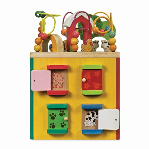 51wq50OWlxL - Battat – Wooden Activity Cube – Discover Farm Animals Activity Center for Kids 1 year +