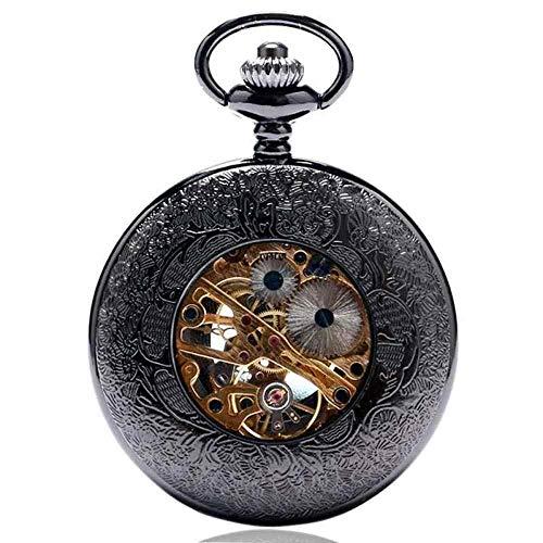 YGB fickur, svart metall mekanisk retro steampunk klocka hänge klockor kedja gåvor till jul födelsedag/årsdag