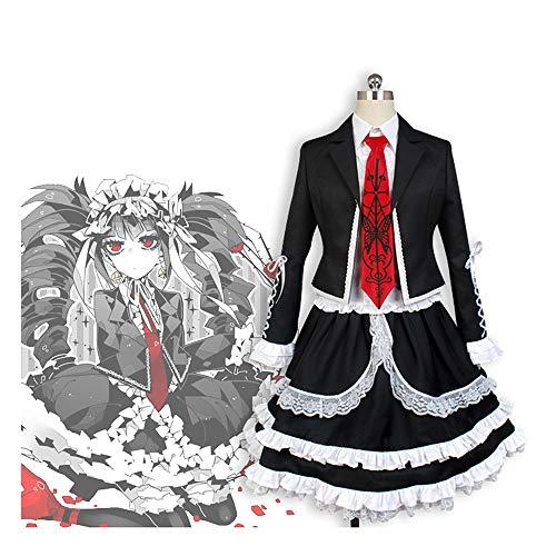Vokaer Danganronpa V3 Cosplay Costume Celestia Ludenberg Black Lace Dress Halloween Party Womens Gothic Cosplay Uniform