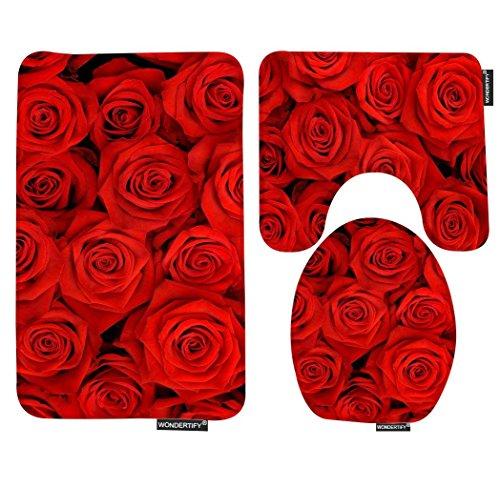 WONDERTIFY Bath Mat,Rose,Red Rose Flowers Bathroom Carpet Rug,Non-Slip 3 Piece Bathroom Mat Set