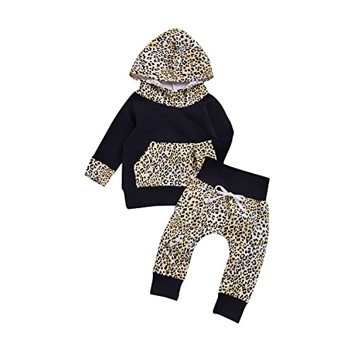 Infant Girls Leopard (Mekilyn 2Pcs Baby Boy Girls Hooded Pocket Leopard T-shirt Top With Long Print Pant Warm Clothes (0-6Months, Leopard))