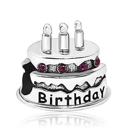 JMQJewelry Birthday Happy Cake Charms February Purple Crystal Rhinestone Beads For Bracelets (Purple Rhinestone Charm)