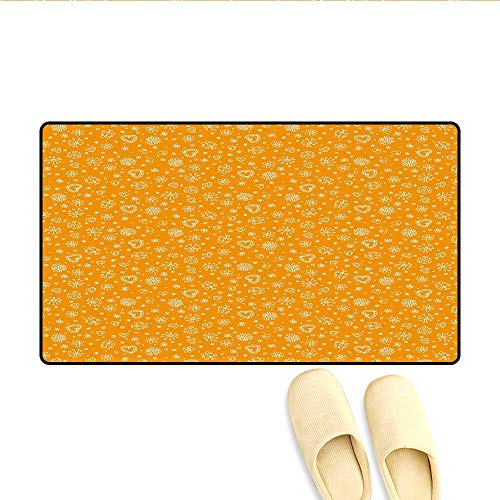 - Bath Mat Sketchy Figures Cheerful Composition Kids Playroom Nursery Wall Design Nature Print Doormat Outside Orange White 16