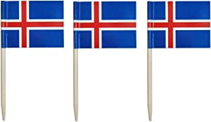 JAVD CYPS 100 Pcs Iceland Flag Icelanders Toothpick Flags, Small Mini Stick Cupcake Toppers Iceland Flags,Country Picks Party Decoration Celebration Cocktail Food Bar Cake Flags